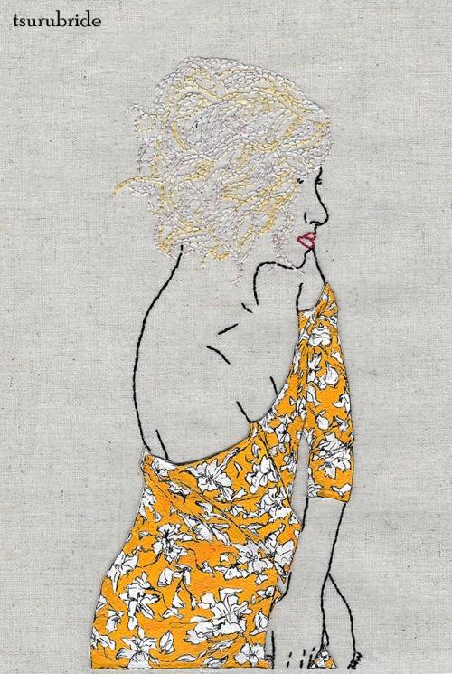 Tsuru Bride embroidery art